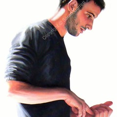 Painting of Hofesh Shechter, choreographer in rehearsals