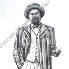 Drawing of Philip Voss as Malvolio at the RSC