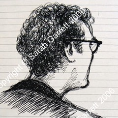Sketch of Ramin Gray, director in rehearsals at the Royal Court