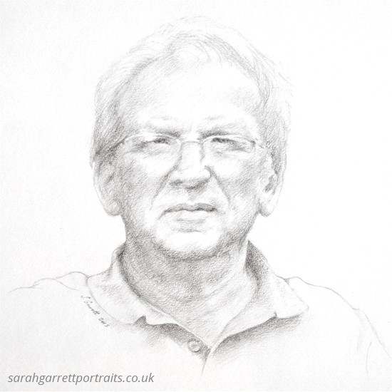 pencil drawing of an older man
